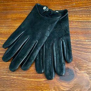 Club Monaco Black Leather Half Scoop Gloves Small